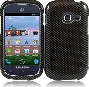 Samsung Galaxy Discover S730G ( Straight Talk , Net10 , Tracfone , Cricket ) Phone Case Accessory CarbonFiber Design Hard Snap On Cover with Free Gift Aplus Pouch