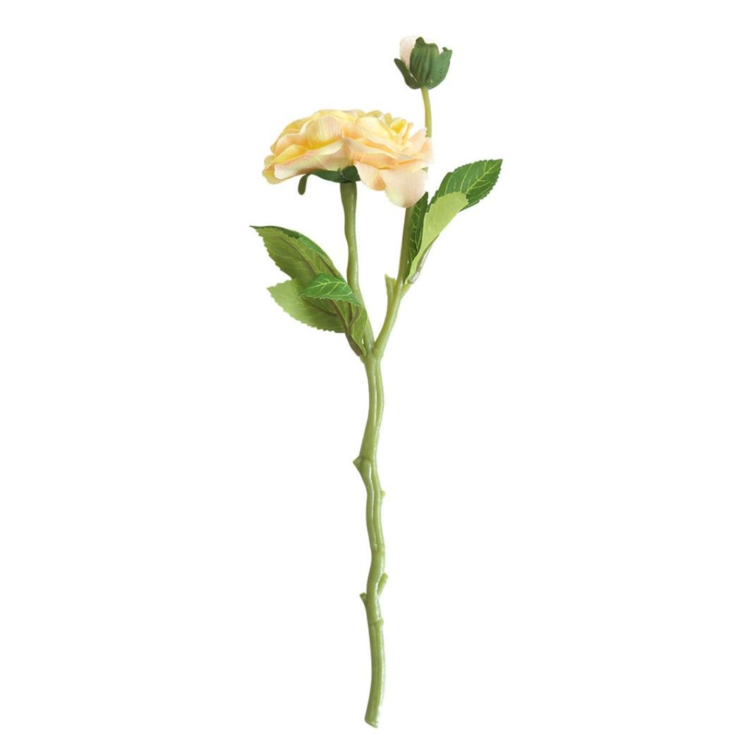 Artificial Flowers,Silk Daisy Rose, BCDshop Fake Bouquet for Grave Home Wedding Decoration (Yellow)