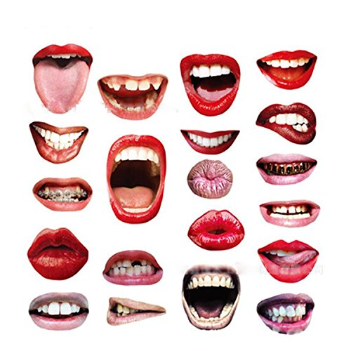 JIAHG 20 PCS Photo Booth Props Funny Colorful Sexy Lips Mouth Accessories DIY Kit for Party Wedding Chiristmas Birthday Reunions Halloween Graduation Festivals]()