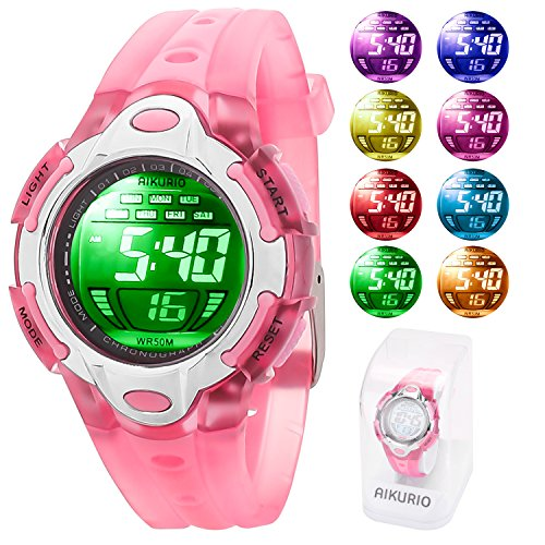 AIKURIO Children's Digital Watch 50M Waterproof with Silicone Strap and 8 Colours LED Lights for Sports Outdoor AKR006