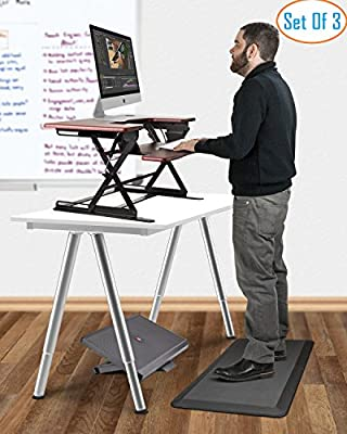 """Halter All In One Office Ergonomics Bundle - ED-258+ Preassembled Height Adjustable Elevating Desktop - 3/4"""" Non-Slip Anti-Fatigue Comfort Mat - F7011 Premium Adjustable Height and Angle Foot Rest"""