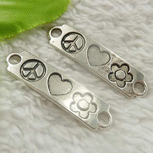 FidgetFidget Connector Symbol Heart Flower for Jewelry Making Tibet Silver Peace 40x10mm 120 ()