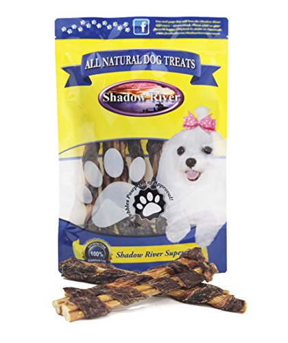 Shadow River 10 Pack Premium All Natural BullyWraps Beef Jerky Wrapped Bully Sticks for Dogs