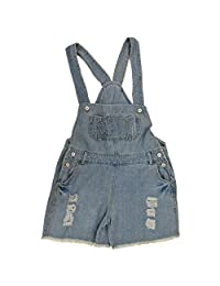 SODIAL(R) Denim Rompers Strap Pockets Frayed Ripped Holes Overalls Jumpsuits for Women Light Blue M