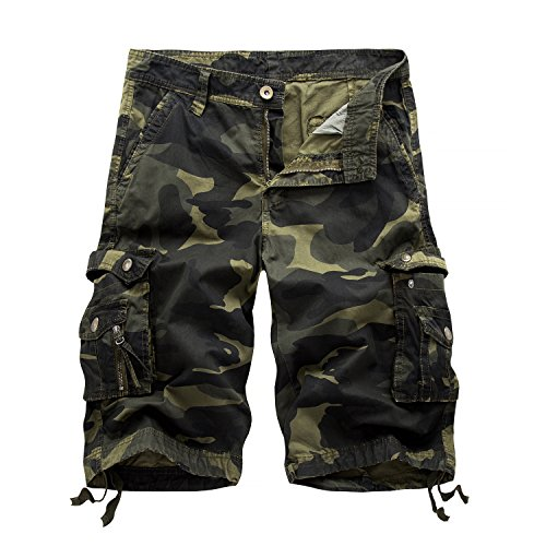 Army Cargo Shorts - Hycsen Mens Cotton Relaxed Fit Fit Outdoor Camouflage Camo Cargo Shorts-Deep army-36