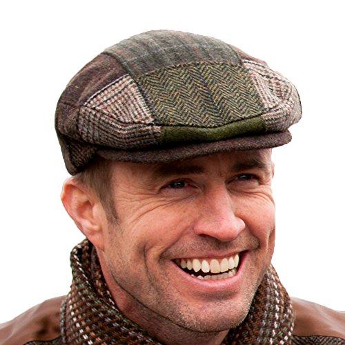 Irish Tweed Patch Cap, Trinity Style, 100% Irish Wool, Made in Ireland, Large