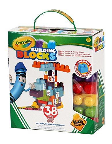 Kids at Work Crayola Customizable Building Blocks Boxed Playset By Amloid I Colorful 38 Piece Set I Decals and Crayons Included (Brick Duplo Box Pink)