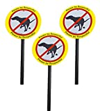 Paper and Presents Plastic No Poop/Urinating Dog Yard Laminated Signs Stakes| Stop Dogs From Doing Business On Your Lawn | Please Be Respectful (3 x No Pooping)