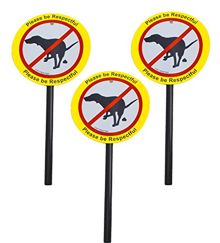 Plastic No Poop/Urinating Dog Yard Laminated Signs and Stakes| Stop Dogs from Doing Business On Your Lawn | Please Be Respectful (3 x No Pooping)