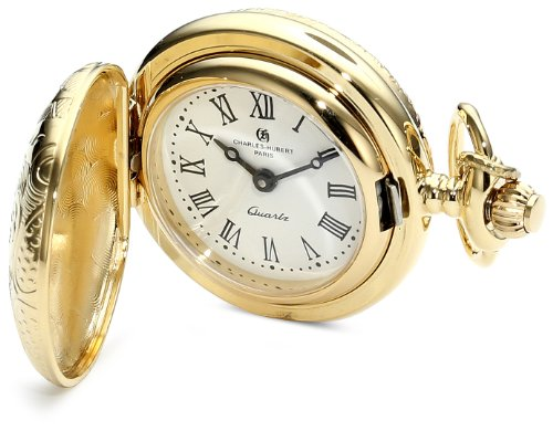 Charles-Hubert, Paris 6818 Classic Collection Gold-Plated Brass Quartz Pendant Pocket - Watch Pendant Charles Hubert