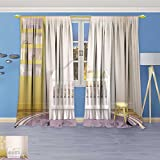 SOCOMIMI Blackout Curtains Thickening Polyester, Interior of Nursery Frontal View Pictures in Frames Thermal Insulated Grommet for Living Room, 96W x 96L inch
