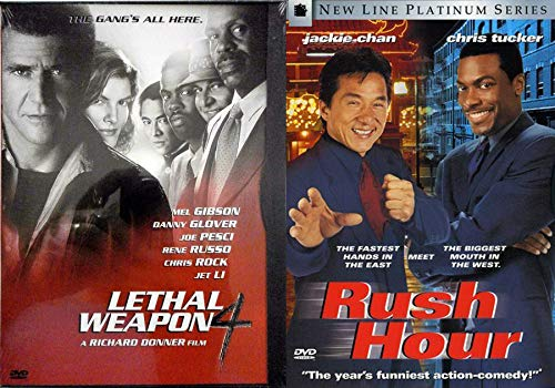 Kidnapped in LA Chinese mobsters Rush Hour + Lethal Weapon 4 DVD Cop Action Comedy Team up adventure - Mel Gibson Jackie Chan Double Feature
