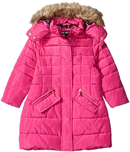 Steve Madden Big Girls' Long Outerwear Jacket (More Styles Available), Fuchsia C, 10/12 (Pink Girls Coat)