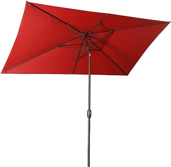 Aok Garden 6.5 10Ft Rectangular patio umbrella Outdoor table umbrella tilt