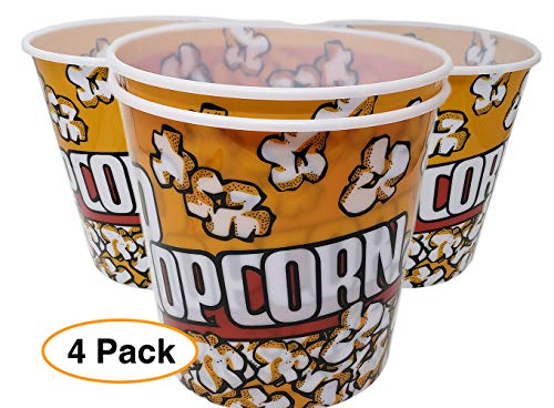 (Extra Large Popcorn Bucket/Container / Bowl (4 Pack) thick plastic Reusable (92 oz.) Yellow Red Retro Style)