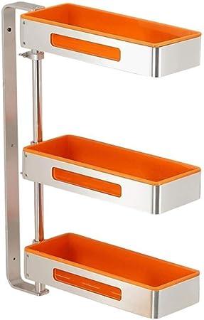 Cocina Especiero ahorro de espacio en rack de aluminio cocina giratorio 180 ° for montaje en