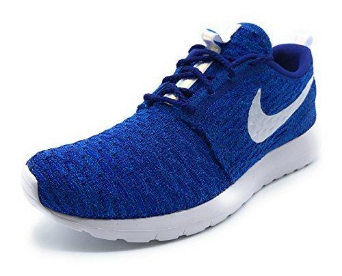 Nike Womens Rosherun Flyknit Running Shoes (6 B(M) US, Photo Blue/White/Iridescent)