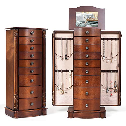 GOFLAME Chest Armoire Cabinet Standing with Mirror, Storage Organizer for Women Standing Wood Style 6 Hooks, Makeup Display Box Stand Up Accent Furniture Bedroom5 Drawers (Walnut)