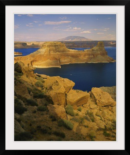 greatBIGcanvas Rock formations at a lake, Gunsight Butte, Lake Powell, Glen Canyon National Recreation Area, Arizona, Utah Photographic Print with Black Frame, 29