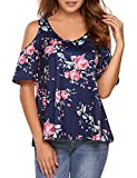 Sherosa Women's Floral Print Cut Out Shoulder Short Sleeve T Shirt Tops Blouse (M, Navy Blue)