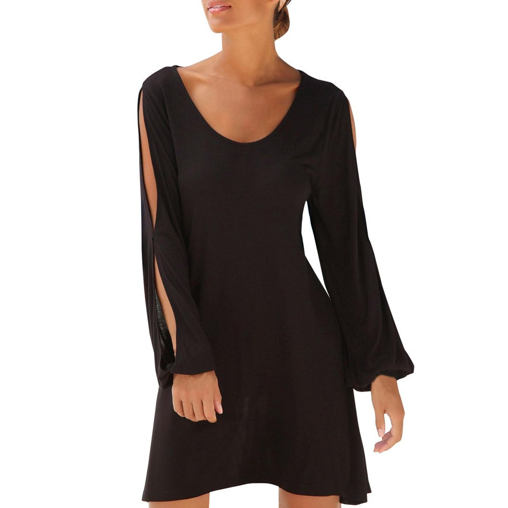 Hengshikeji Dress for Women Plus Size Sexy Ladies Summer Solid O Neck Hollow Out Sleeve Beach Style Casual Mini Dress Black