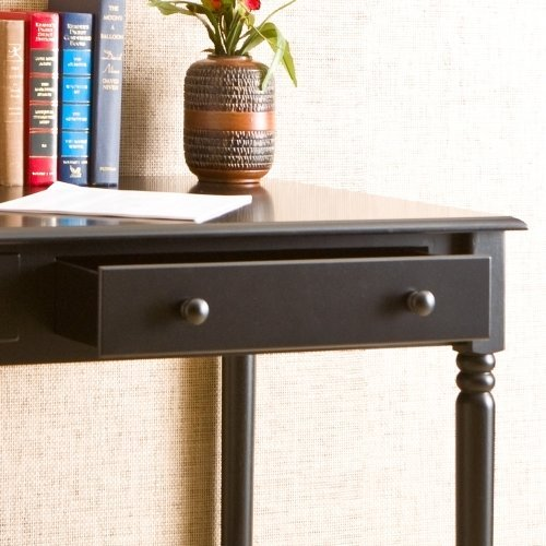 Southern Enterprises 2 Drawer Wood Writing Desk in Satin Black - Wood Writing Table