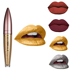 Kisshine Matte Lip Sticks Metallic Bright Lipstick Lip Color Cosmetics Makeup Gift for Women and Girls (Gold 108#)