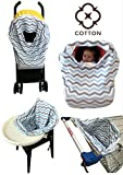 Baby Shower Gift Idea: Baby Car Seat Covers COTTON Nursing Canopy 5 in 1 Multi-Use