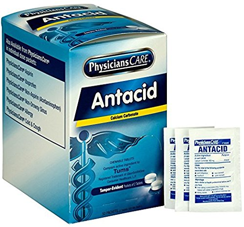 PhysiciansCare Antacid Heartburn Medication (Compare to Tums), 50 Doses of Two Tablets, 420 mg (Pack of 5) by PhysiciansCare