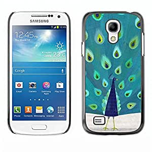 rígido protector delgado Shell Prima Delgada Casa Carcasa Funda Case Bandera Cover Armor para Samsung Galaxy S4 Mini i9190 MINI VERSION! /Green Blue Teal Bird Nature/ STRONG