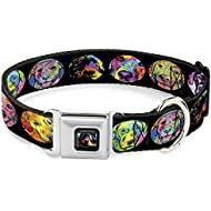 Dog Collar Seatbelt Buckle Dog Portraits Stylized Black Multi Color 11 to 17 Inches 1.0 Inch Wide