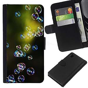 KLONGSHOP // Tirón de la caja Cartera de cuero con ranuras para tarjetas - Green Nature Reflexión Reflexivo - Sony Xperia Z1 L39 //