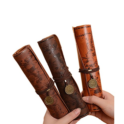 Weimay Leather Pencil Case Travel Drawing Pencil Holders Most Suitable For Writers Artists and Students Extra Large