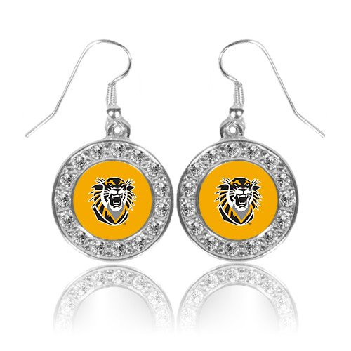 Fort Hays Crystal Studded Round Pendant Silver Dangle Earrings 'Victor E. Tiger' ()