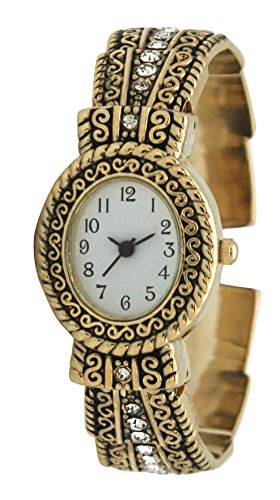 Metal Ladies Western Bangle/Cuff Watch With Simple Rhinestones On Band (Gold)