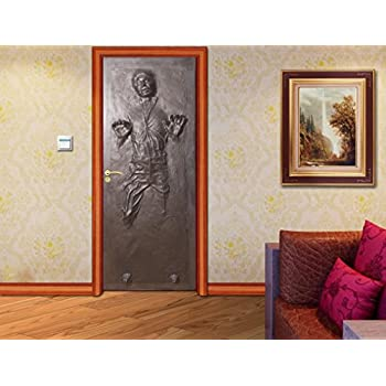 Amazing Han Solo Carbonite DOOR WRAP Decal Wall Sticker Mural Home Decor Star Wars  D187, 200x80