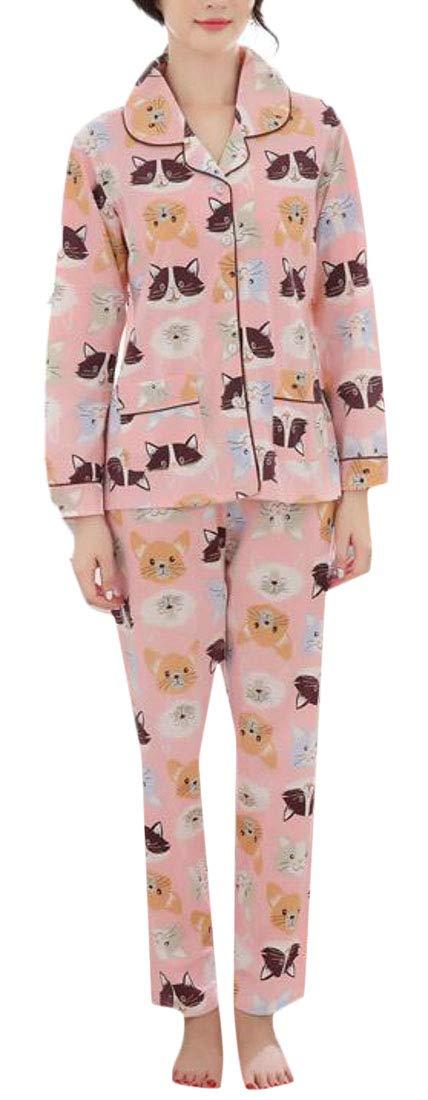 MU2M Women Maternity Long Sleeve Loungewear Cotton Shirt and Pants Pajama Sets