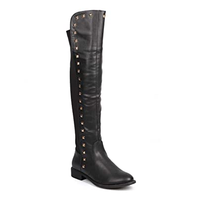 Liliana Women Mix Media Over The Knee Stud Stretch Riding Boot DC25 | Over-the-Knee