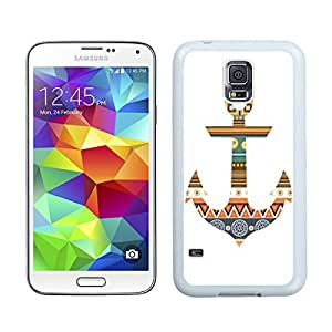 Graceful Samsung Galaxy S5 Case Anchor Aztec Designer White Cell Phone Cover Protector