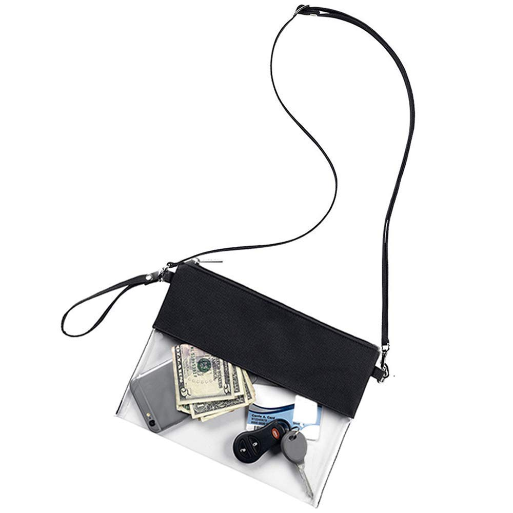 61002f60976d Amazon.com   Wanty Adjustable Cross-Body Strap Clear Stadium and Security  Approved Travel Large Crossbody Purse Bag with Shoulder Strap (Black)    Sports   ...
