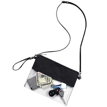 9e63fd85a57a Wanty Adjustable Cross-Body Strap Clear Stadium and Security Approved  Travel Large Crossbody Purse Bag