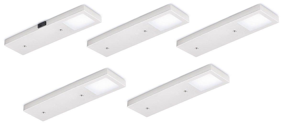 Six LED Set-5 mit Schalter edelstahlfarbig. Unterbodenleuchte. Mit Flächen-LED. Ausleuchtung ohne sichtbare LED-Punkte. je Leuchte  2,5 Watt, 12 V, 85 Lumen Watt, 4000 K neutralweiß Set bestehend aus  - 4 Six LED ohne Schalter (7062170) -