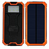 Solar Charger, PowerBen® Solar External Battery Pack with 6LED Flashlight 15000mAh Dual USB Cell Phone Battery Pack Outdoor Backup Charger for Bluetooth iPhone HTC Nexus Camera Tablet Samsung