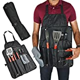 BBQ Tools Kit | Barbecue Accessories | 7pc Grilling Utensils Set | Cooking Apron for Men, Grill Oven Glove, Tongs, Fork, Spatula, Salt + Pepper Shaker