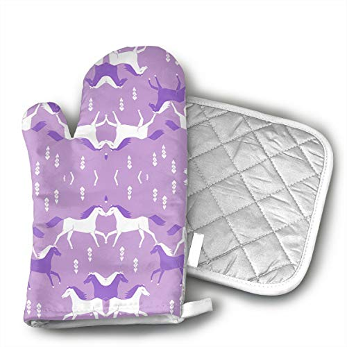 KYHDUO Horses Purple Lilac Girls Sweet Cowgirl Oven Mitts with Pot Holders for BBQ Cooking Baking, Grilling, Machine Washable
