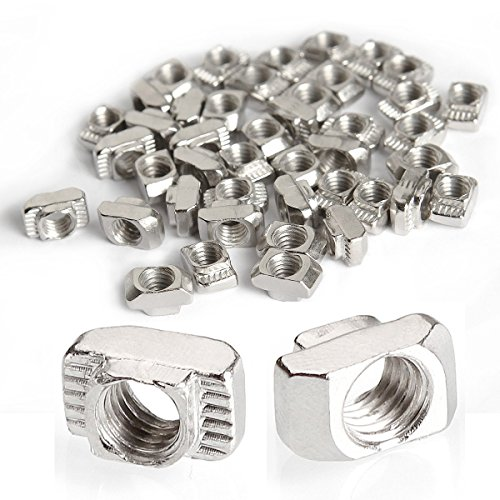 Eliseo M5 T Nut, 100 Pcs Drop in T Slot Nut for 2020 European Aluminum Extrusion, Carbon Steel Nickel-Plated Post Assembly Sliding T Nut 6mm Slot Aluminum Profile Accessories