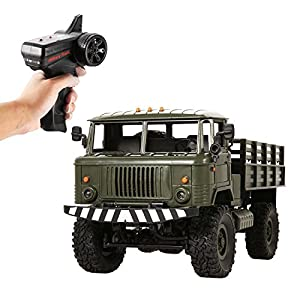 Evokem RC Cars Electric 1:16 2.4Ghz 4WD High Speed Off-Road Military Truck Car with Lights, Rechargeable 6V Battery Included (green)
