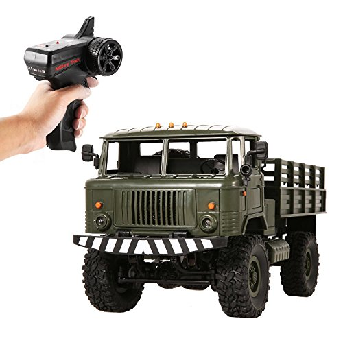RC Cars Electric 1:16 2.4Ghz 4WD High Speed Off-Road Military Truck Car with Lights, Rechargeable 6V Battery Included (green)
