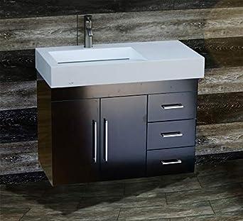 36 Bathroom Wall Mounted Vanity Cabinet Dark Cherry Color Ceramic