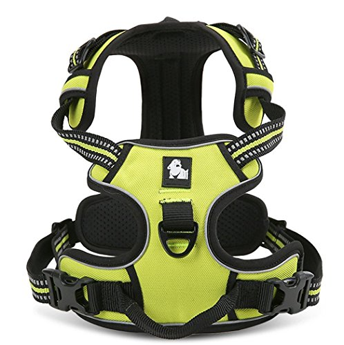 Vivi Bear Durable Dogs Harness Vest with 3M Safety Reflective Stripes Vest Adjustable Padded with Dog Leads Ring, SLarge/Medium/Small Dog Harness, 5 Sizes (XL:32-42 inches(81-107cm), Green) For Sale